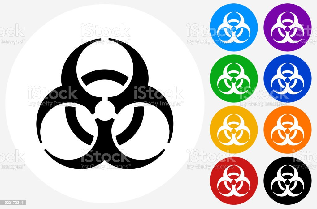 Biohazard Icon On Flat Color Circle Buttons Stock Vector Art More