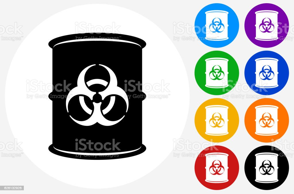Biohazard Icon on Flat Color Circle Buttons vector art illustration