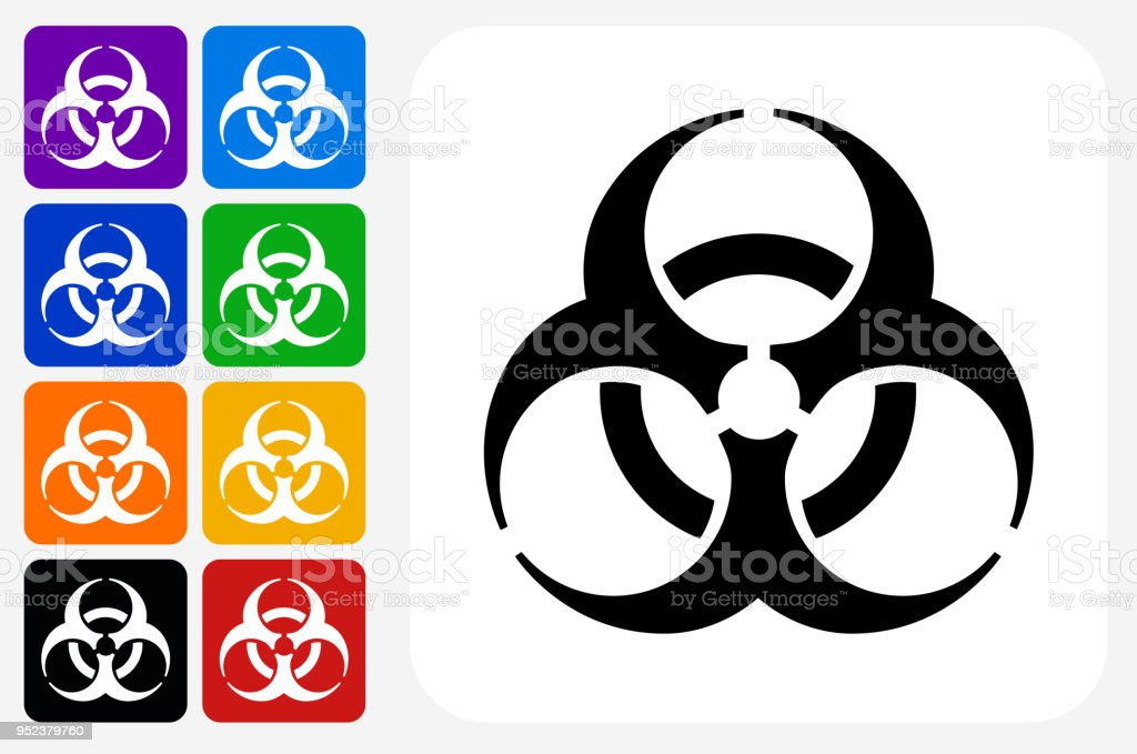 Biohazard Icon Square Button Set Stock Vector Art More Images Of