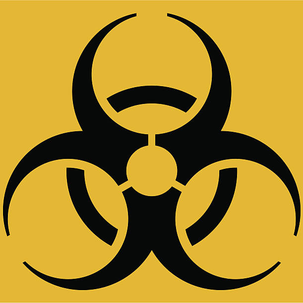 Biohazard icon Warning sign, draw with geometrical quality. biohazard symbol stock illustrations