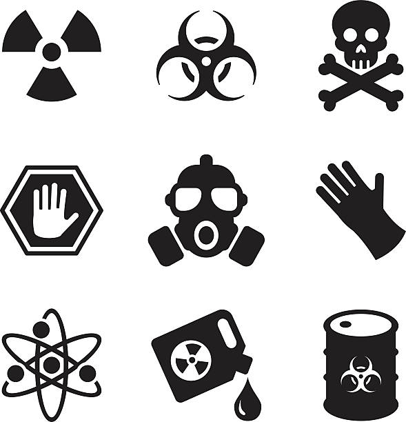 생물학적 위험 아이콘 - 독성 물질 stock illustrations