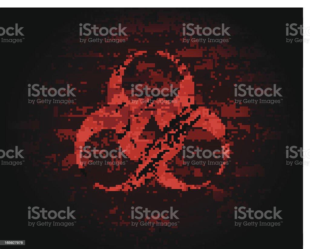 Sinal de risco biológico em uma parede de tijolo - ilustração de arte vetorial