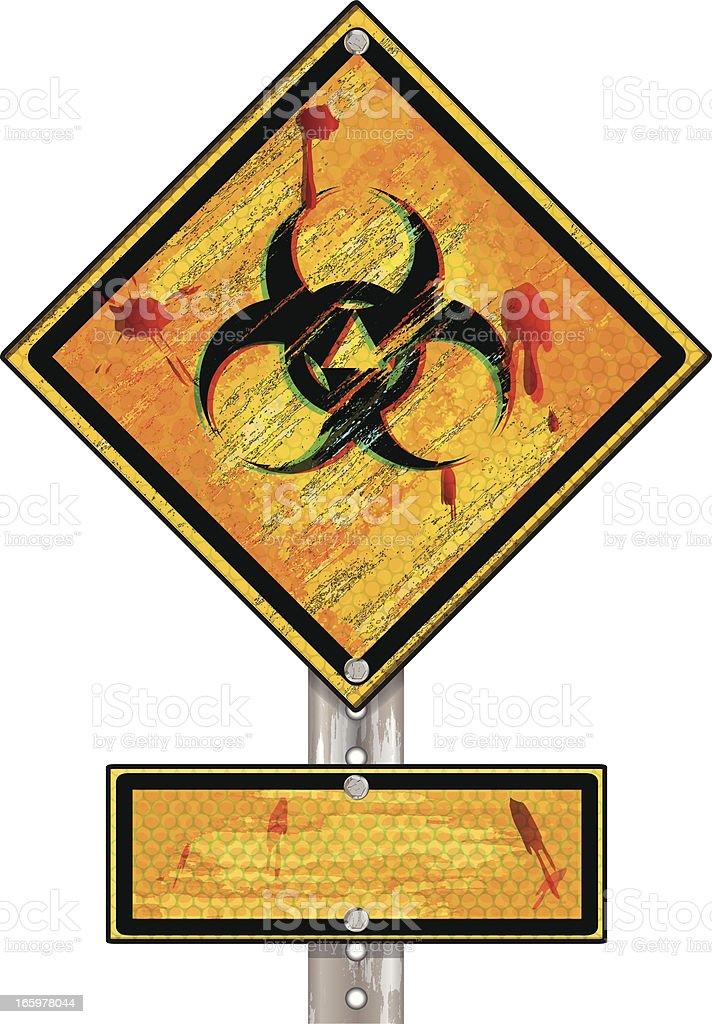 Biohazard Sign on Metal Post | Grunge royalty-free stock vector art