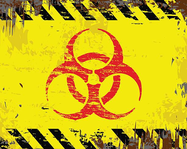 Biohazard Symbol Sign Biohazard symbol on grungy enamel metal sign. biohazard symbol stock illustrations