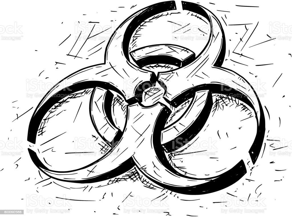 Biohazard Symbol Vector Cartoon Drawing Stock Vector Art More