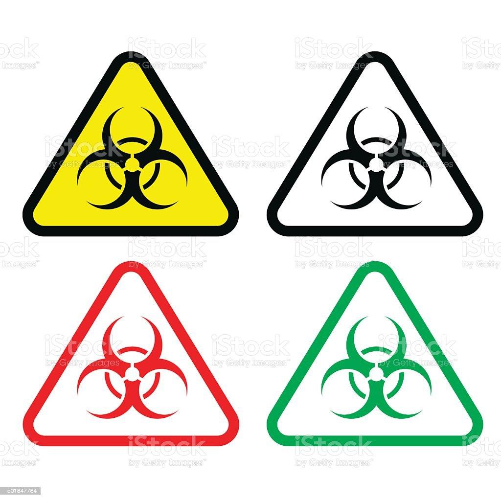 Biohazard Triangle Set vector art illustration