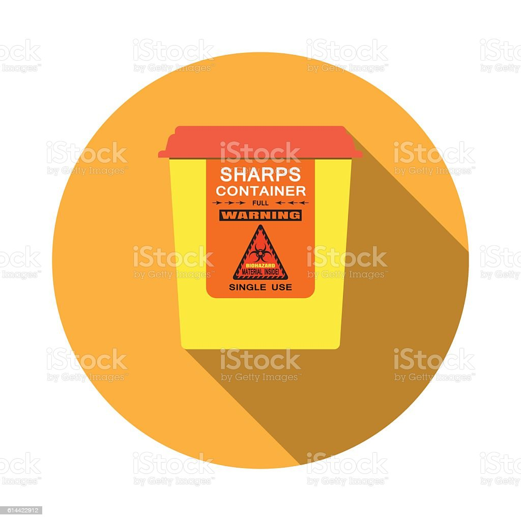 Biohazard - vector isolated icon of sharps container with shadow vector art illustration