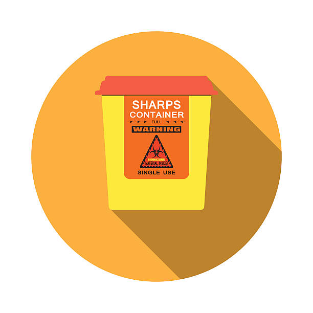 Biohazard - vector isolated icon of sharps container with shadow Biohazard - vector isolated icon of sharps container with shadow on the red background. container stock illustrations