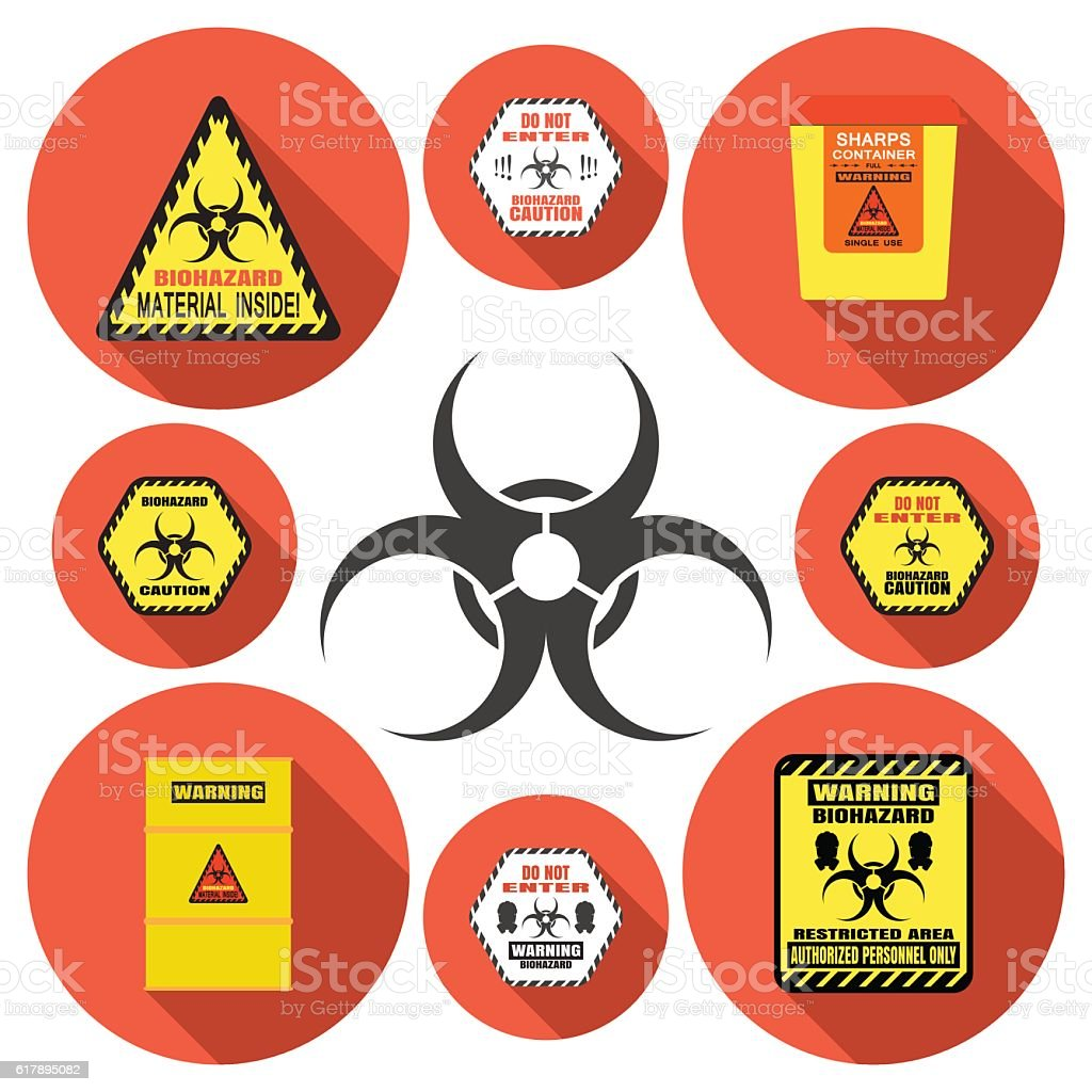 Biohazard - vector isolated icons set with shadow on circle vector art illustration