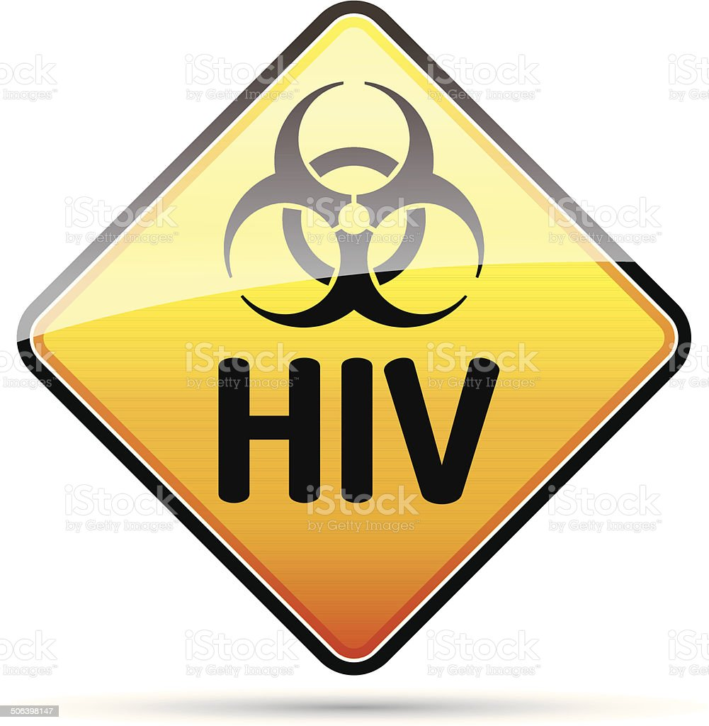 HIV Biohazard virus danger sign with reflect and shadow. vector art illustration