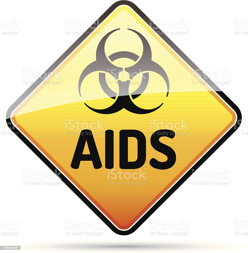 AIDS HIV Biohazard virus danger sign with reflect and shadow. vector art illustration