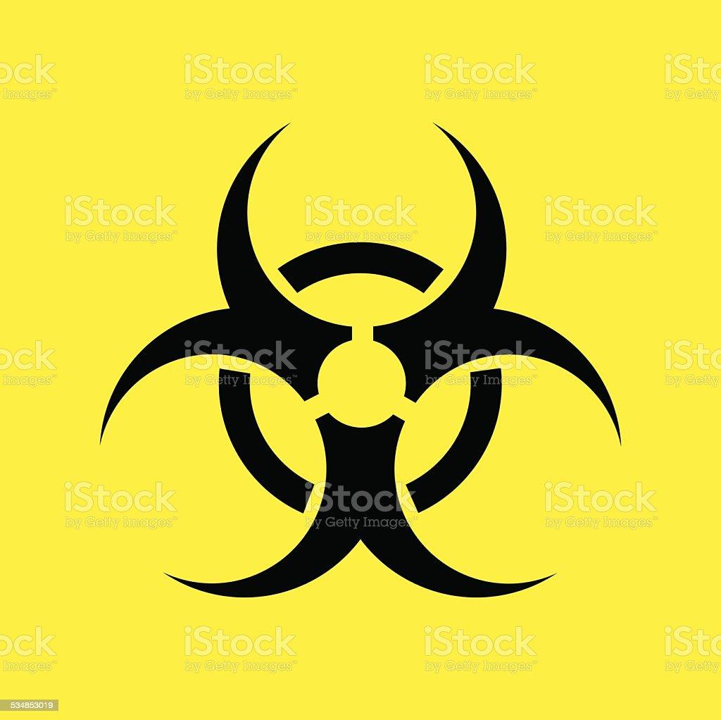 Biohazard warning symbol on yellow background. vector . vector art illustration