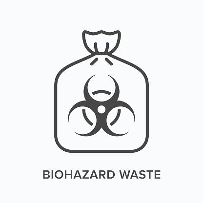 Biohazard waste line icon. Vector outline illustration of bio hazard garbage in plastic bag flat sign. Toxic trash thin linear pictogram