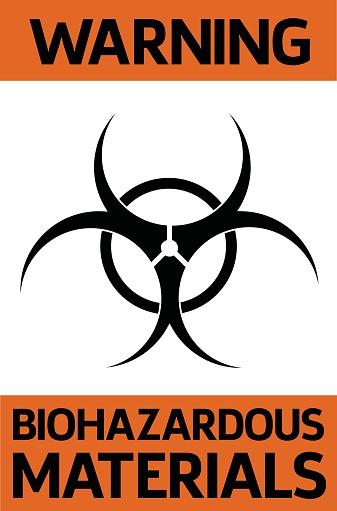 Biohazardous materials warning sign