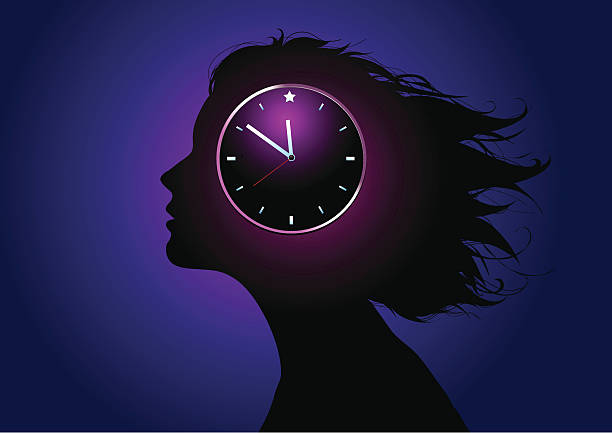 Biological clock Silhouette of a girls head with a clock over it. hormone stock illustrations