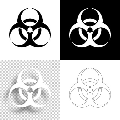 Biological hazard symbol. Icon for design. Blank, white and black backgrounds - Line icon