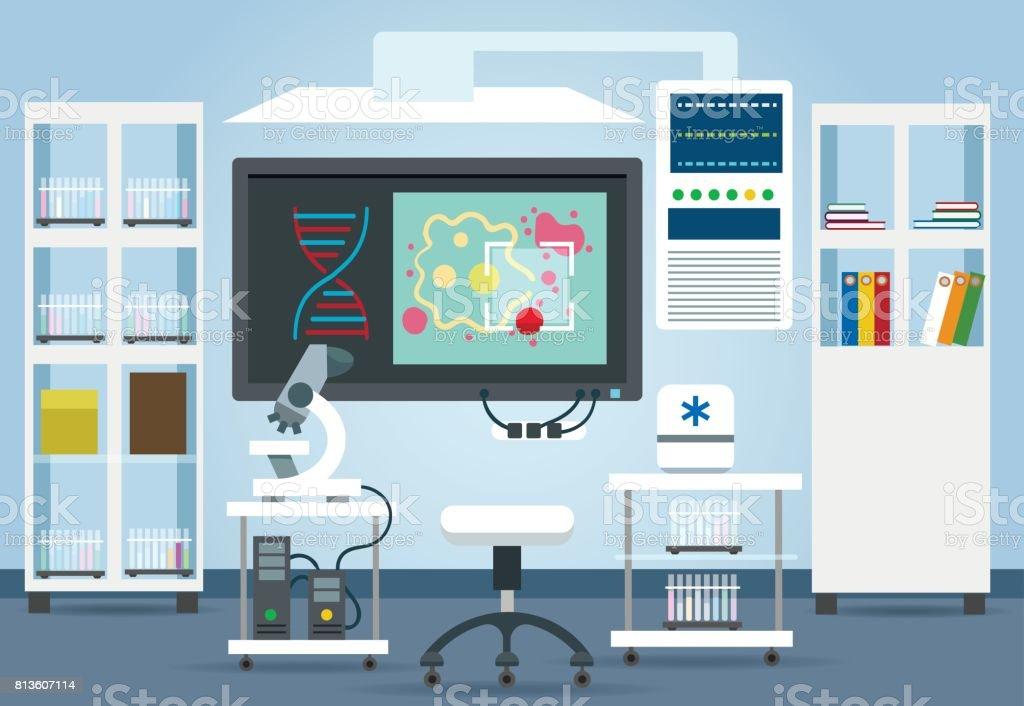 Biological research lab interior - ilustração de arte vetorial