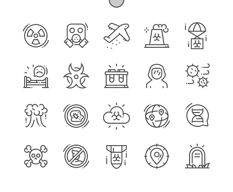 Biological war. Radiation cloud. Nuclear bomb and virus. Gas mask. Destruction of people. Pixel Perfect Vector Thin Line Icons. Simple Minimal Pictogram