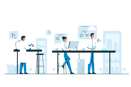 Biologists working in the laboratory. Vector illustration of a group of scientists conducting research in a chemical laboratory. Teamwork concept illustration of a modern lab interior with flasks