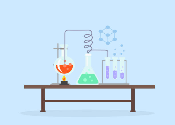 Biology Laboratory Workspace and Science Equipment vector art illustration