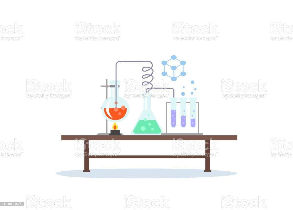 Biology Laboratory Workspace and Science Equipment - ilustração de arte vetorial
