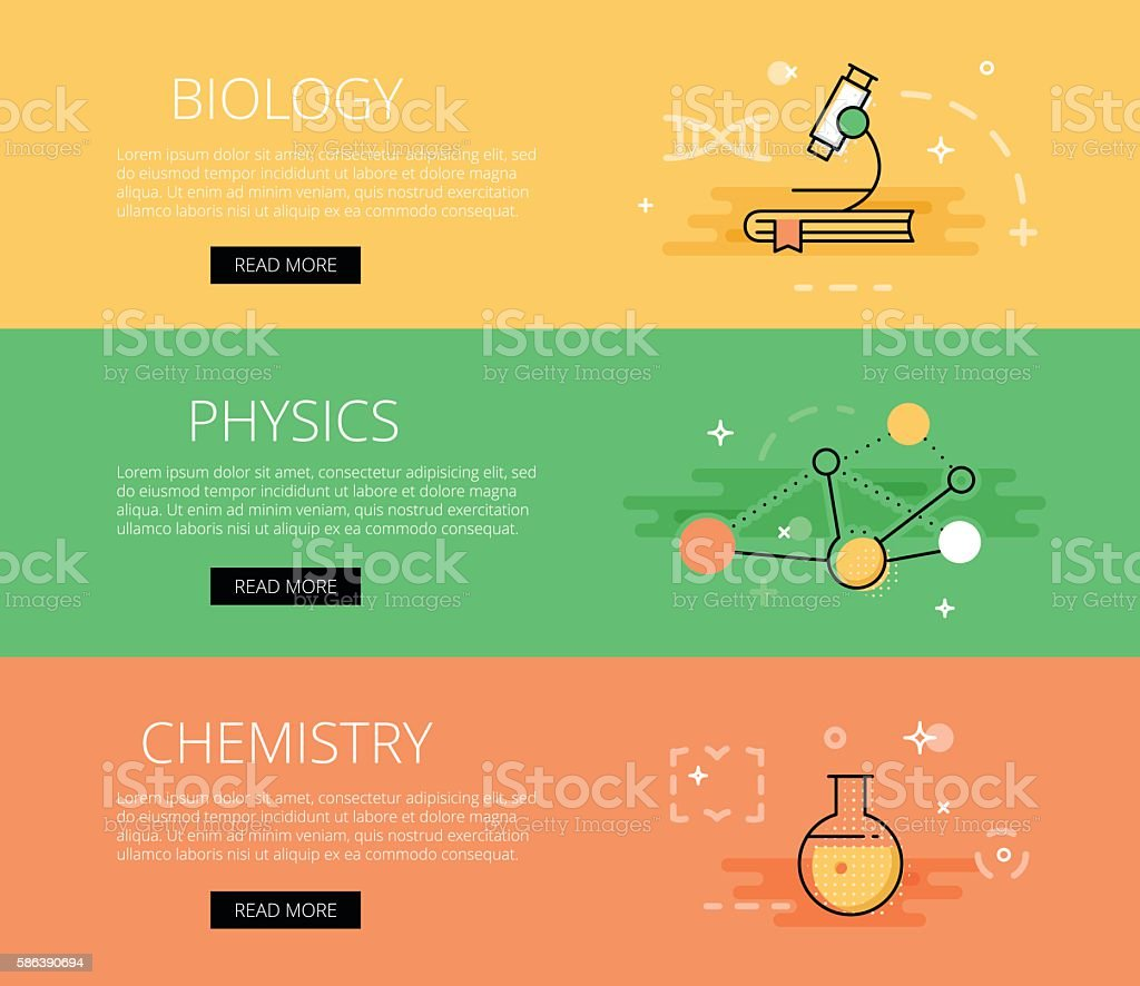 biology physics chemistry vector banners template set stock vector
