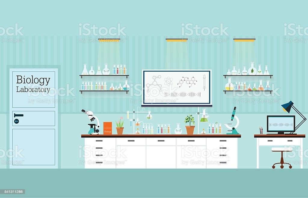 Biology Science lab interior or laboratory room. vector art illustration