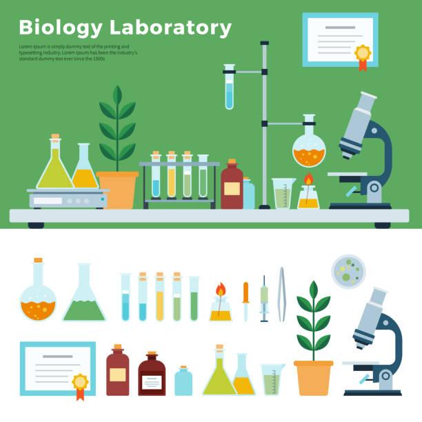 Biology Science Laboratory Biology Science Laboratory. Biological Laboratory Room, biology education, vector flat illustration. laboratory equipment stock illustrations