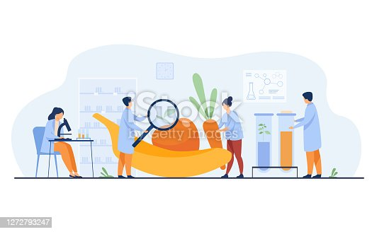 istock Biology scientists doing research on fruits 1272793247