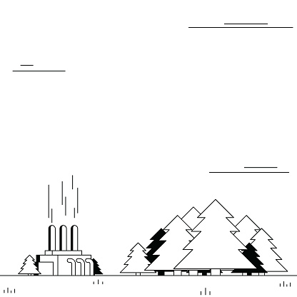 Biomass boiler, participating in creating renewable energy with a restored forest. Black and white illustration with minimalistic shading.