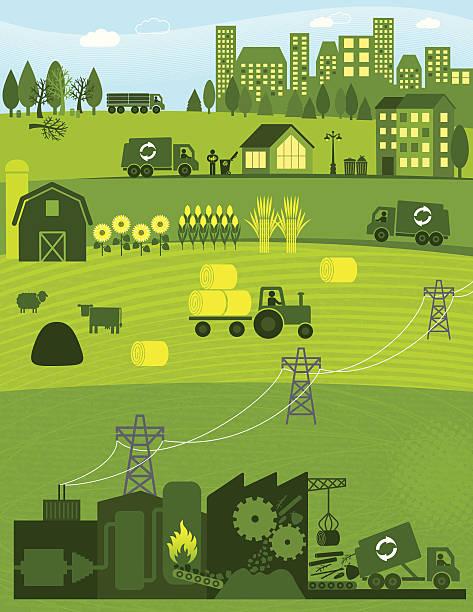 ilustrações, clipart, desenhos animados e ícones de biomassa - corn farm