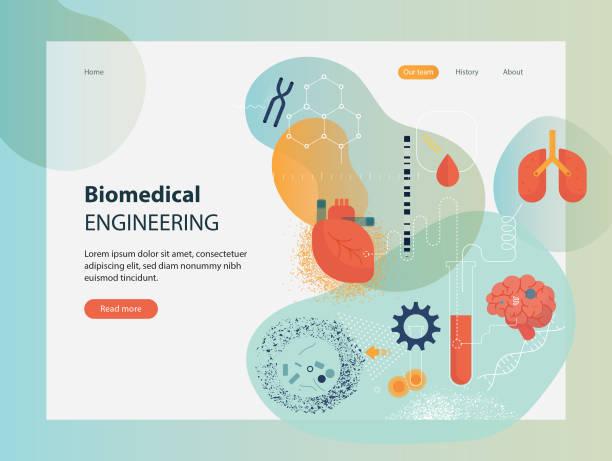 Biomedical Engineering Template Website template depicting biomedical engineering. microbiology stock illustrations