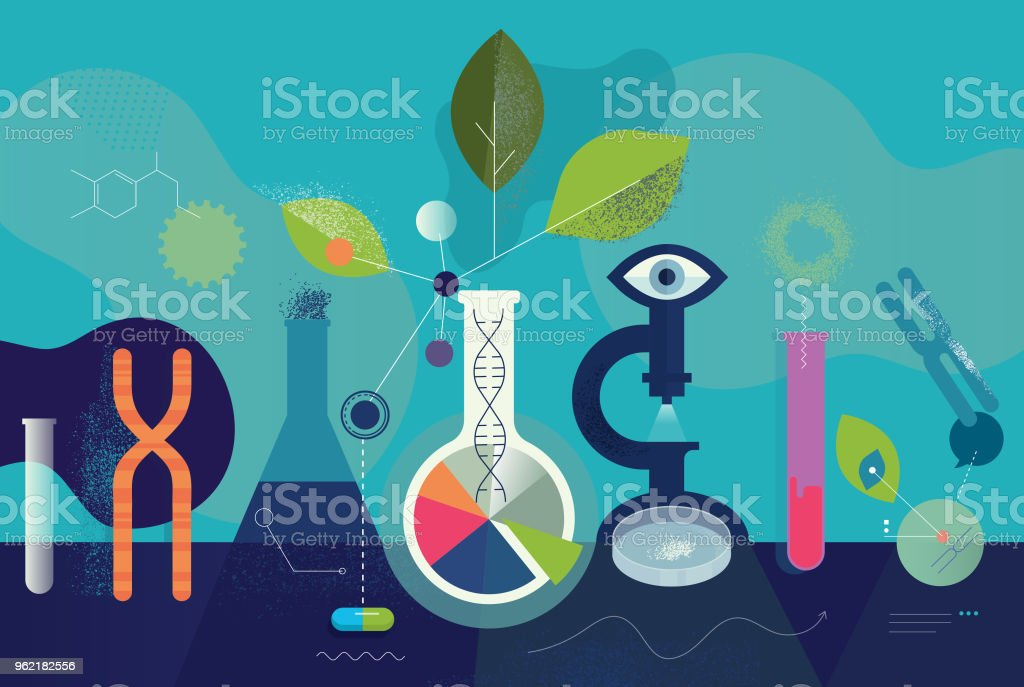 Biomedical Research Laboratory Concept vector art illustration