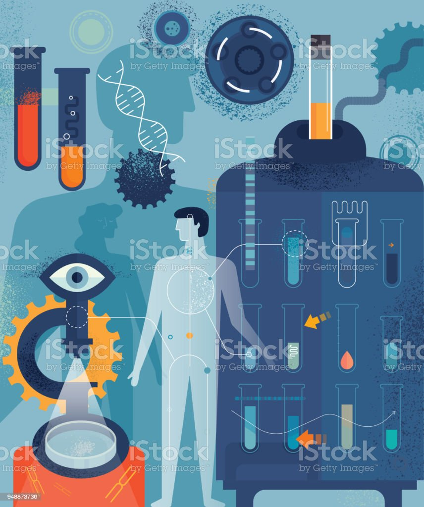 Concepto Vertical de Biomedicina - ilustración de arte vectorial