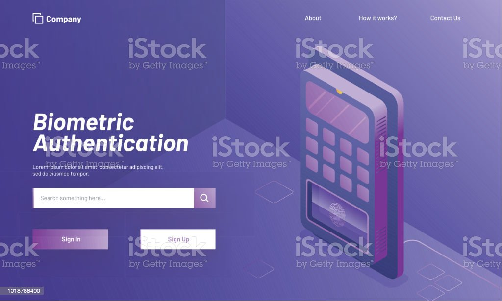 Biometric Authentication concept, login or sign up page with isometric illustration of biometric machine or fingerprint scanner on shiny purple background. vector art illustration