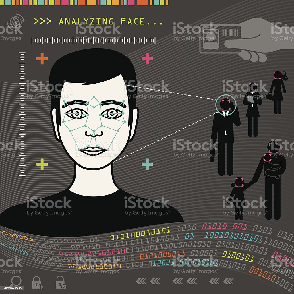 Biometric Face Recognition vector art illustration