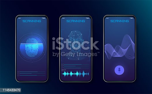 Biometric fingerprint scanners, face recognition and voice recognition for authorization verification with futuristic identification interface. Technology Smart Phone Scanning.