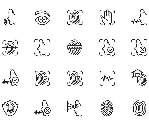 Biometric icon set Biometric icon set , vector illustration biometrics stock illustrations