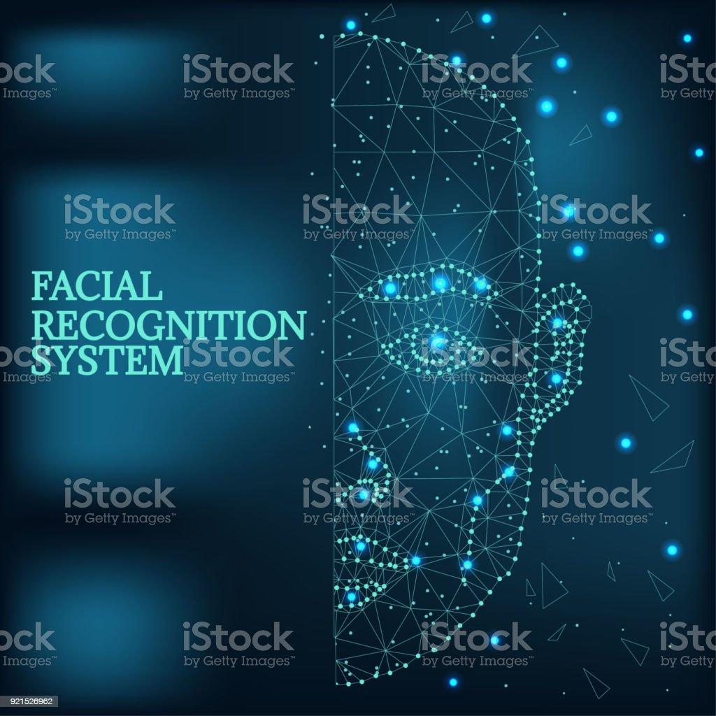 Biometric identification, man face blue 1-2 vector art illustration