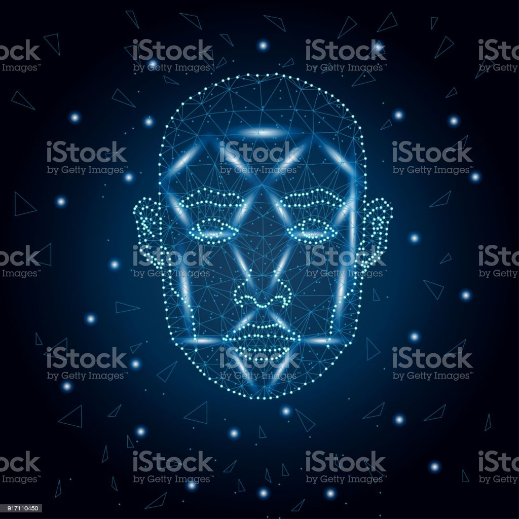 Biometric identification, man face blue 3 vector art illustration