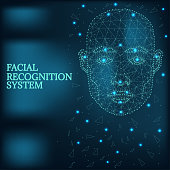 Illustration of human face consisting of polygons, dots and lines, isolated on futurustic blue background. Biometric identification or Facial recognition system, wireframe concept.