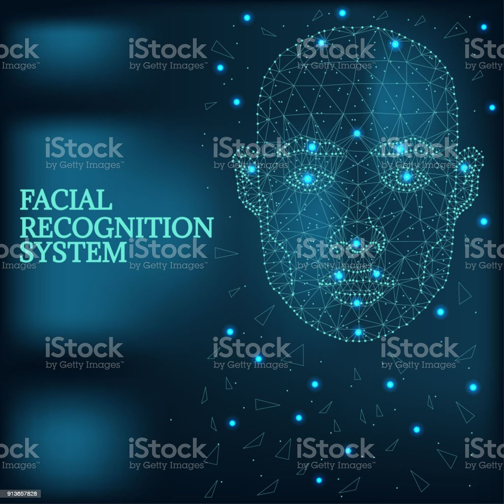 Biometric identification, man face blue vector art illustration