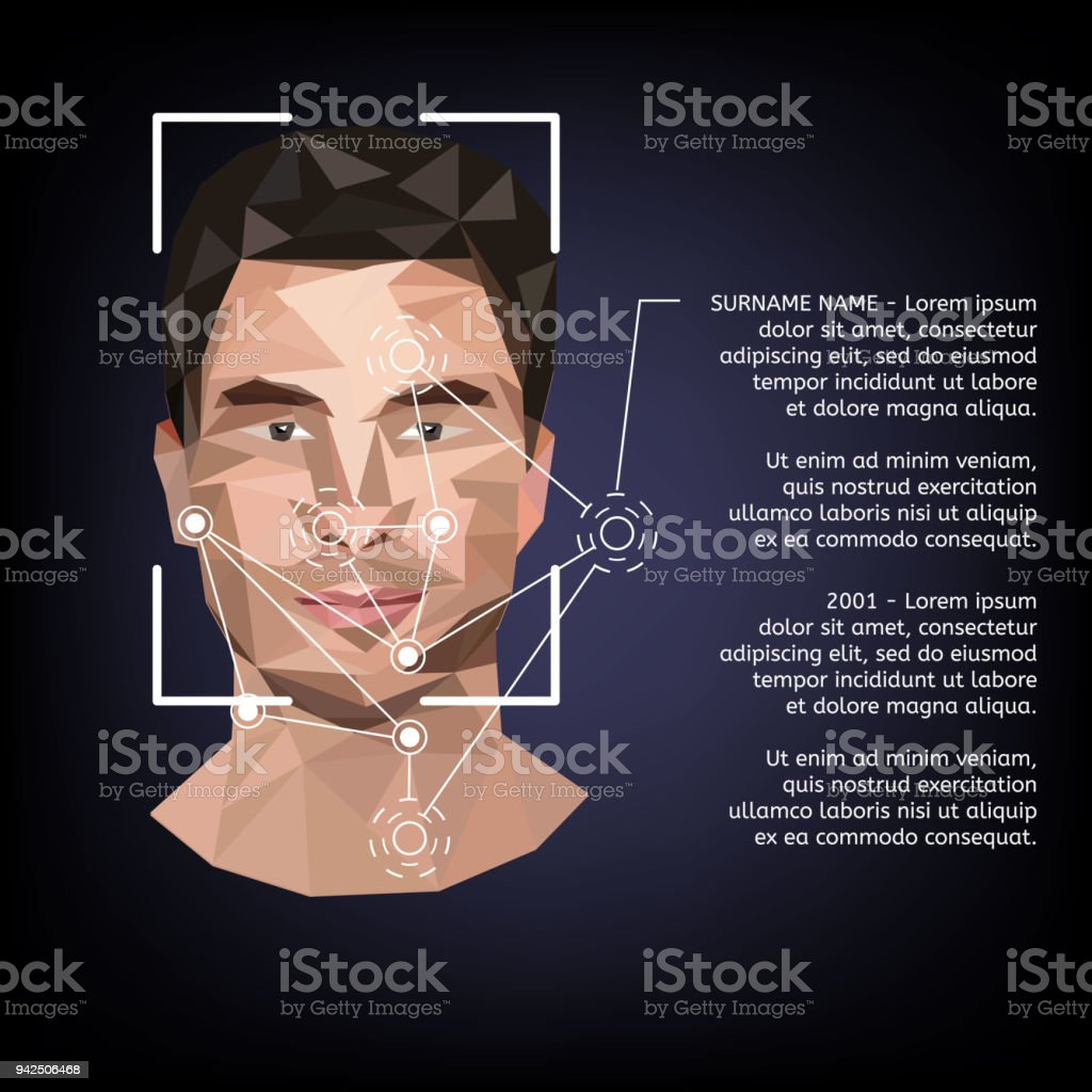 Biometric identification on face, in the style of low poly. vector art illustration