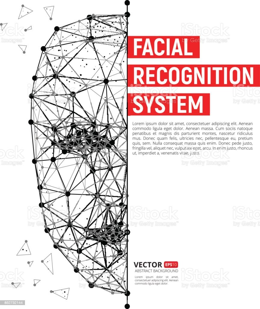 Biometric identification or Facial recognition system concept vector art illustration