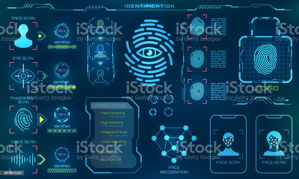 Biometric Identification or Recognition System of Person, Line Icons of Identity Verification Sign vector art illustration