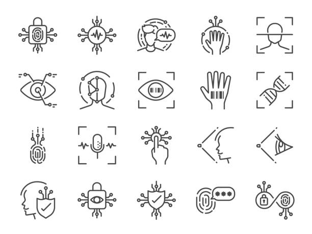 biometric line icon set. included icons as bio security, fingerprint scan, retina scan, face recognition, voice recognition, password and more. - сетчатка stock illustrations