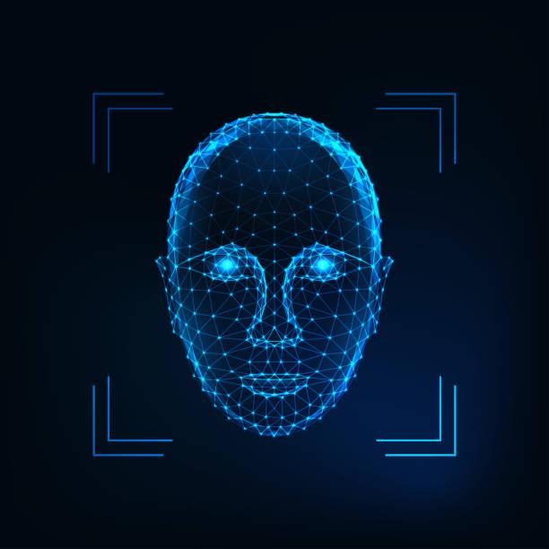biometric person identification, facial recognition concept. futuristic low polygonal human face - antropomorficzna twarz stock illustrations