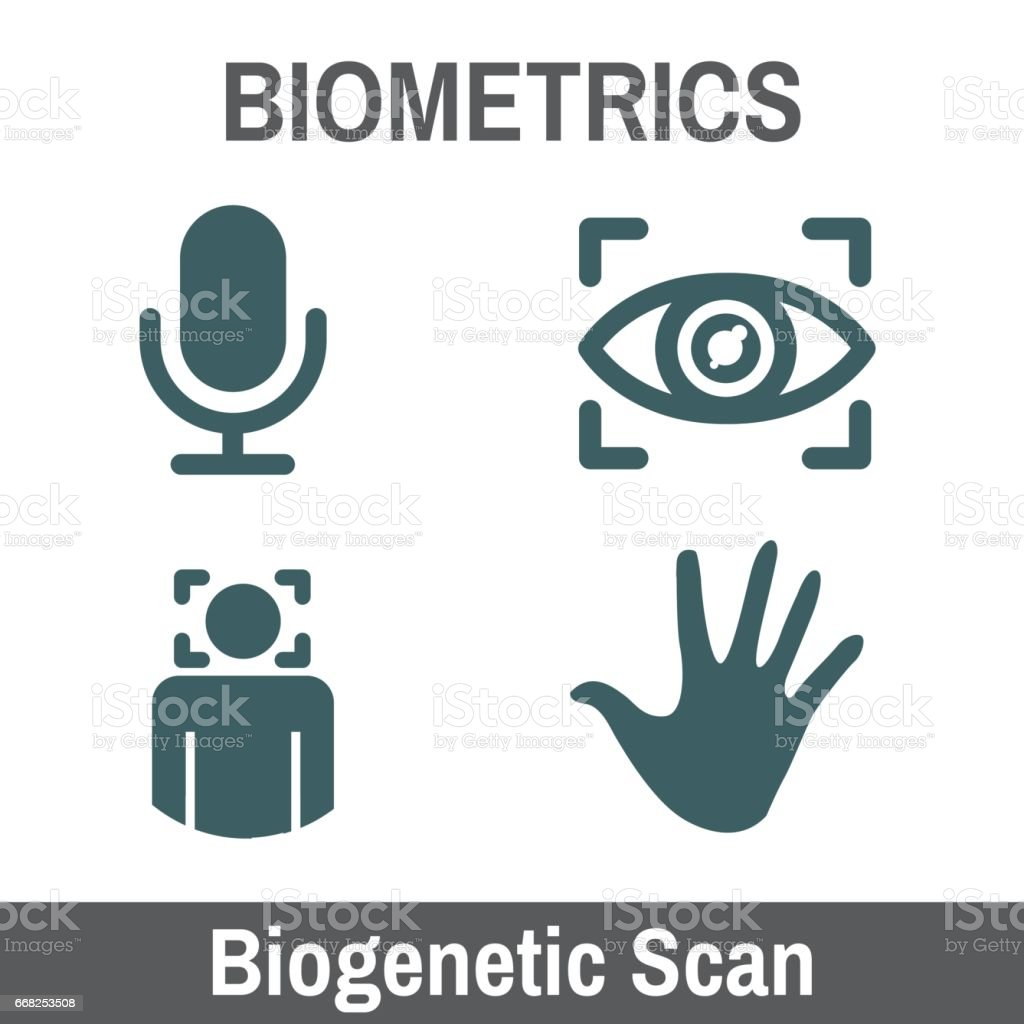 Biometric Scanning Graphic - Biogenetics with Hand, audio, head scan, eye biometric scanning graphic biogenetics with hand audio head scan eye - immagini vettoriali stock e altre immagini di anatomia umana royalty-free
