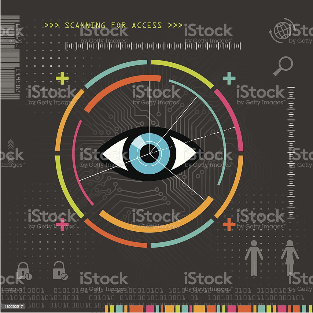 Biometric Security Eye Scanner vector art illustration