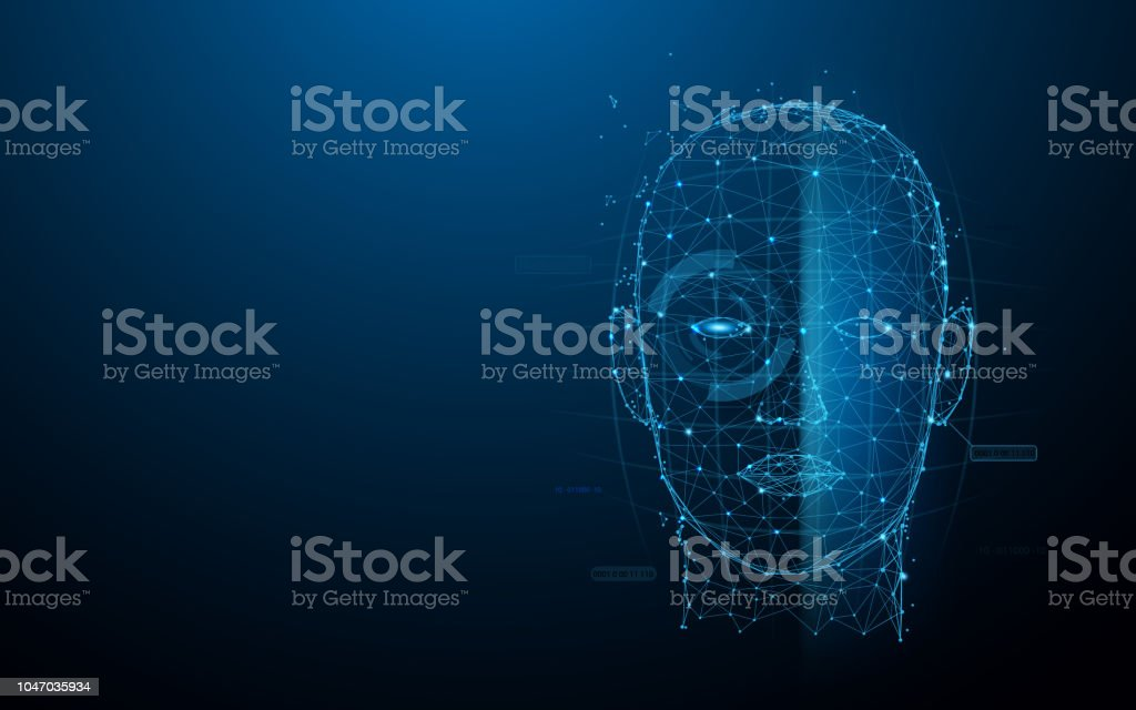 Biometric technology digital Face Scanning form lines, triangles and particle style design. Illustration vector vector art illustration
